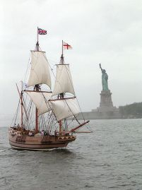 The Godspeed -- an 88-foot replica of the ship that brought the first English colonists to America [Image: Wikimedia Commons at https://commons.wikimedia.org/wiki/File:Godspeed_replica.jpg]