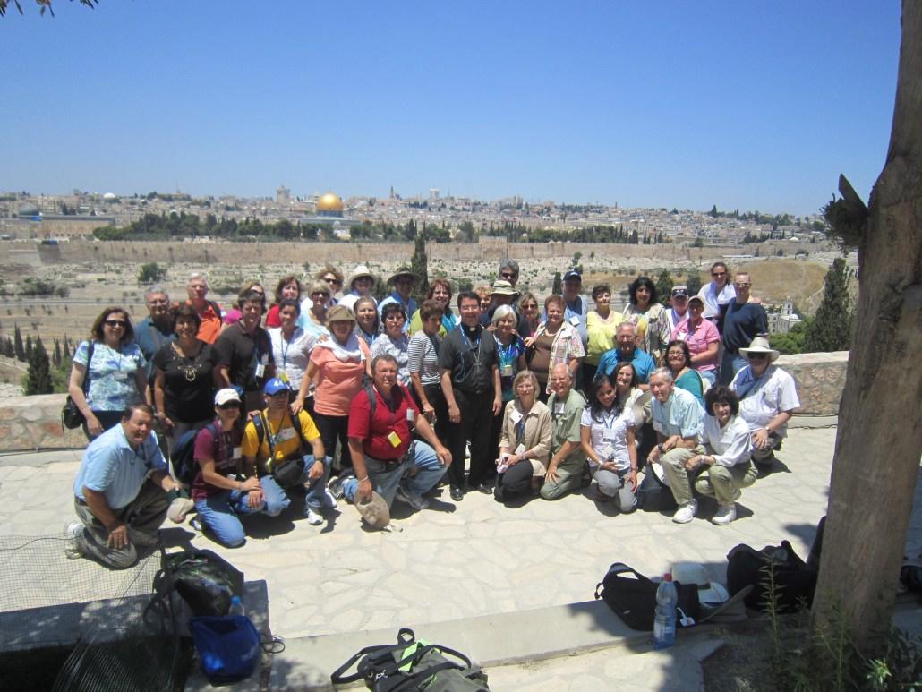 Bishop Oscar Cantu with fellow Holy Land pilgrims