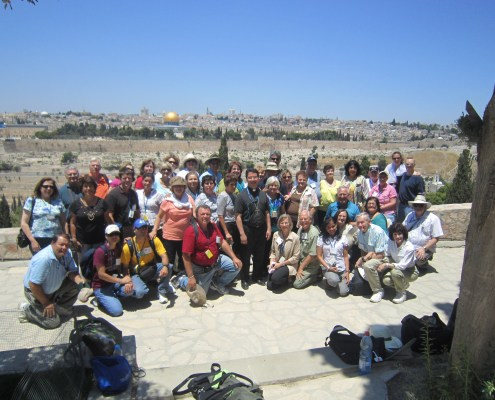 Bishop Oscar Cantu with fellow Holy Land pilgrims