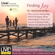 How can my relationship with God impact all my relationships? Tune-in to our new Feminine Faith edition of Catholicism Live! Every Tuesday at 11 in the morning Central time. Helping you keep your faith alive!