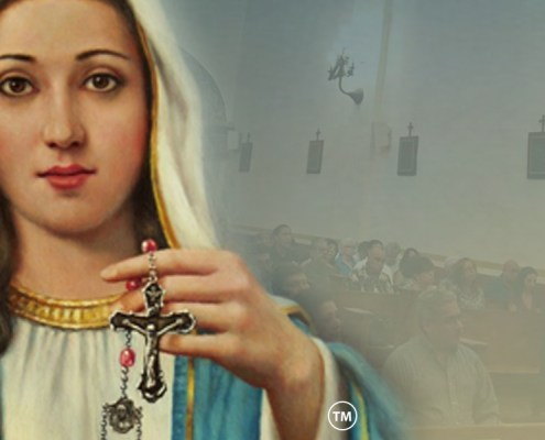 Image of Mary holding a Rosary