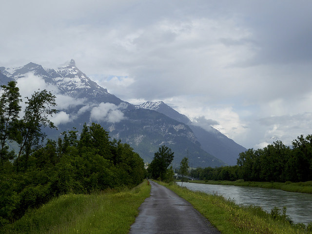 Cycle Path following the Rhone at Aigle.