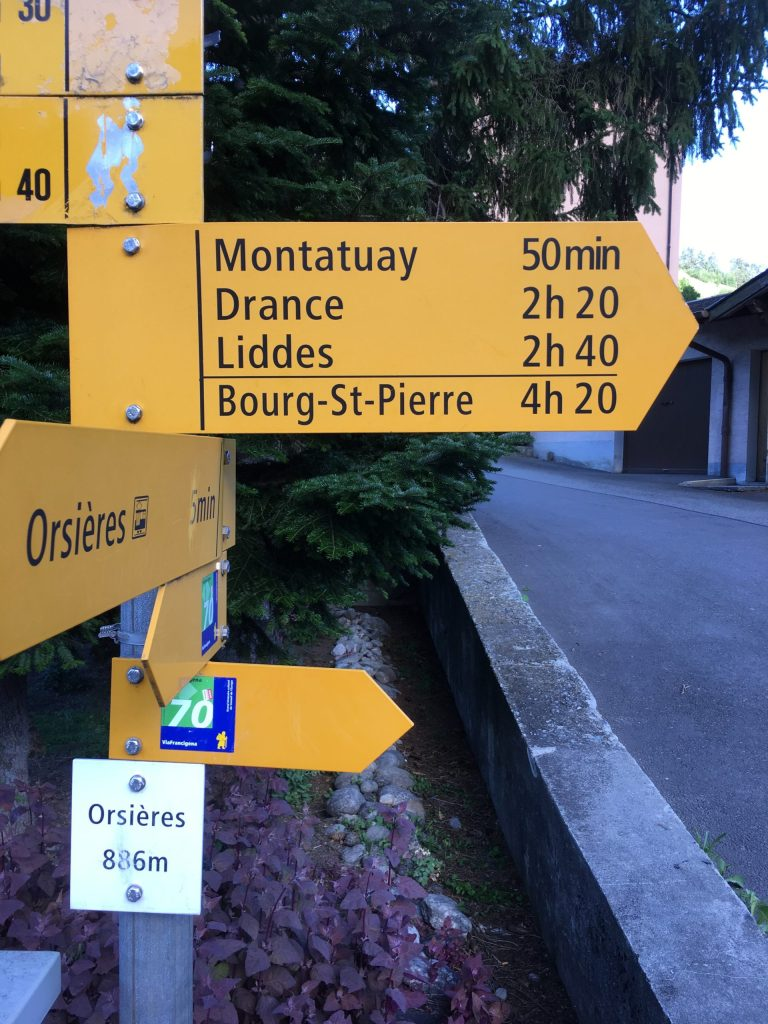 Sign just outside of Orsieres