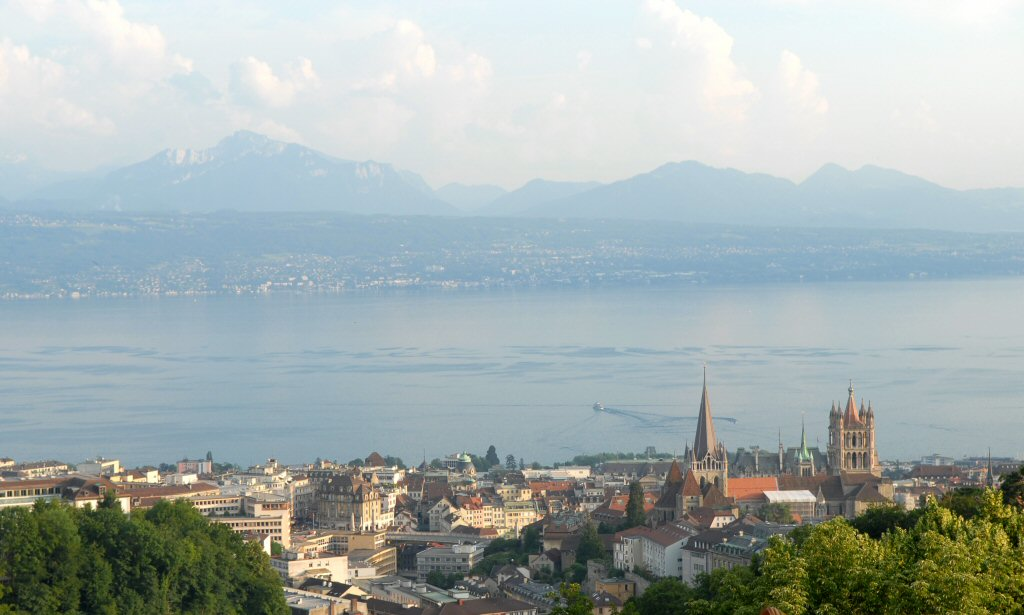 Lausanne Cathedral and Lac Leman