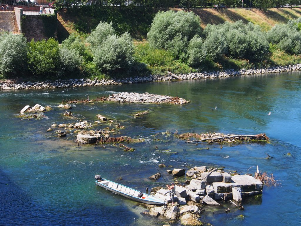 Remains of the Old Bridge in River Ticino, Pavia