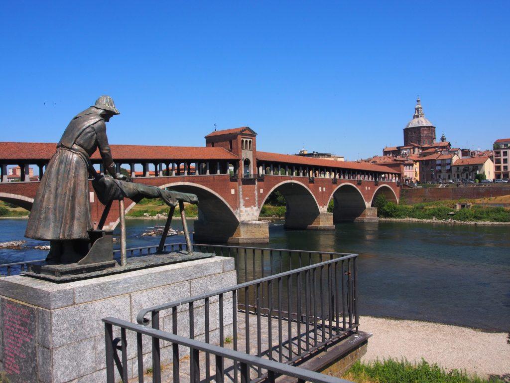 Ponte Coperta (Covered Bridge) Pavia over Ticino River