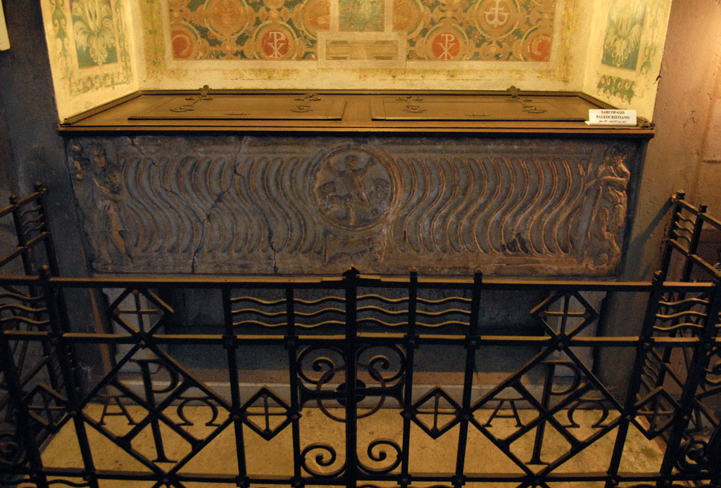 Santa Maria Foris Portam - Roman sarcophagus font