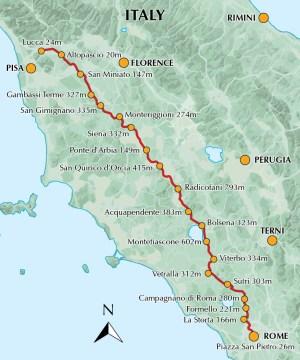 Via Francigena Pt 3 Map
