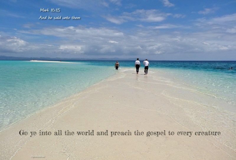 "Mark 16:15 ""And he said unto them, Go ye into all the world, and preach the gospel to every creature."""