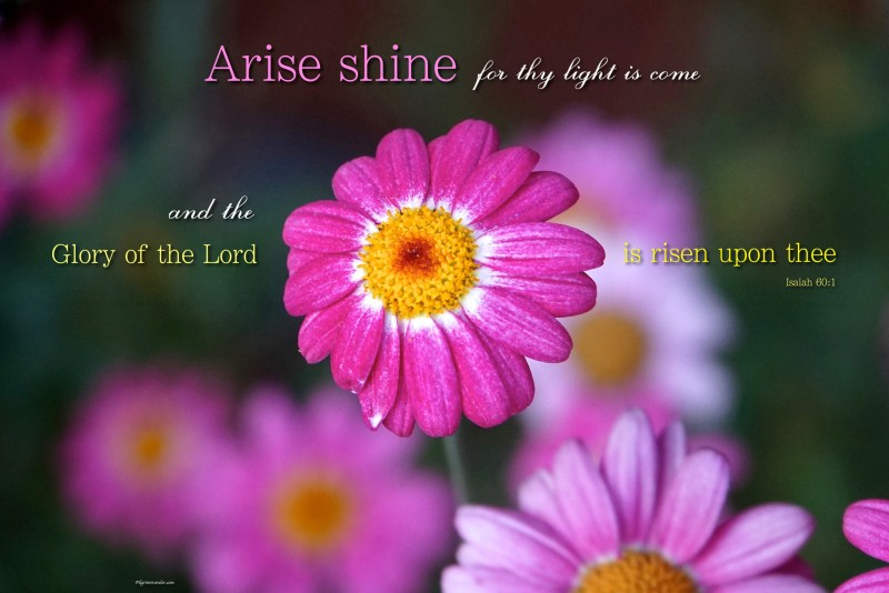 """Isaiah 60:1 """"Arise shine for thy light is come and the glory of the Lord is risen upon thee."""""""