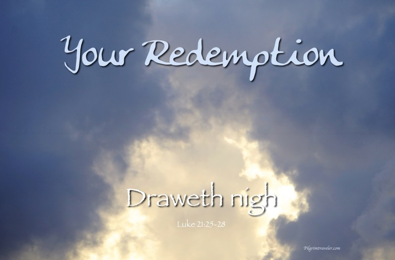 "Luke 21:28 ""And when these things begin to come to pass, then look up, and lift up your heads; for your redemption draweth nigh."""