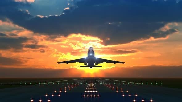 Airplane Takeoff at Sunset