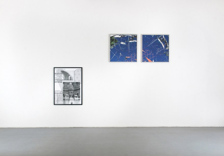 "KATHRIN GANSER, Left: The pine cone (Pinus cembra/Brunnen), 2019 Ultrachrome Print on Moab Entrada Paper, 80 x 60 cm; Mid and right (awarded works): Digitale Ruinen Muc (BN #1+2), 2019 from the series ""Digitale Ruinen"", two-part, Fine Art Prints on Hahnemühle Photo Rag Baryta in artist's frame, 61,5 x 61,5 x 2,5 cm each"
