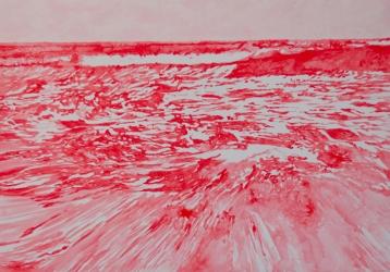 ERN 3 (series: Ensayos en rojo neón) I 2011 I Neon pigment on canvas I 200 x 140 cm I Photo © Irina Raffo