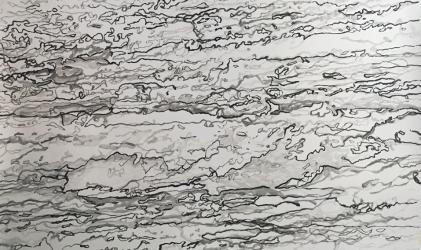 AO 4 (series: 3 Sekunden Atlantischer Ozean) I 2015 I Ink on paper I 180 x 110 cm I Photo © S. Blaas