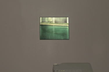Vacancy (The Royal Hawaiian) | 2014 | video loop - projection onto painting / acrylic on canvas, 30 x 25 cm / pedestal, projector, DVD player, 108 x 26 x 28 cm | © Kaplan Gallery, Rockville (USA)
