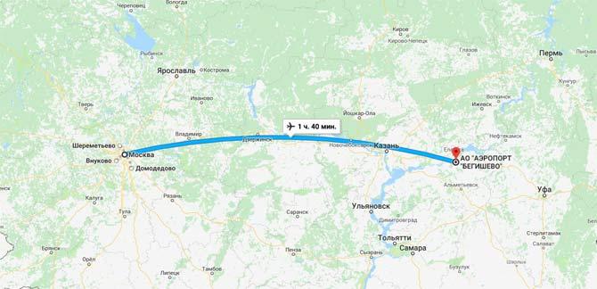 Аэропорт Бегишево на карте