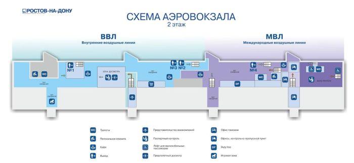 Схема 2 этаж аэропорта Ростов на Дону