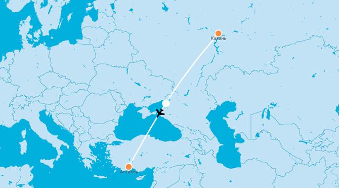 Карта Казань-Анталья