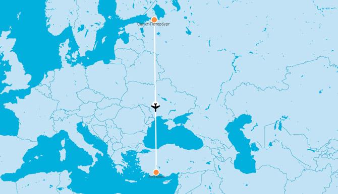 Карта Санкт Петербург Анталья