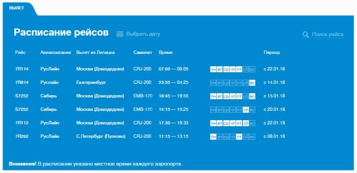 Расписание рейсов Липецк вылет