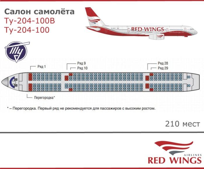 Ту 204 схема самолет Red Wings