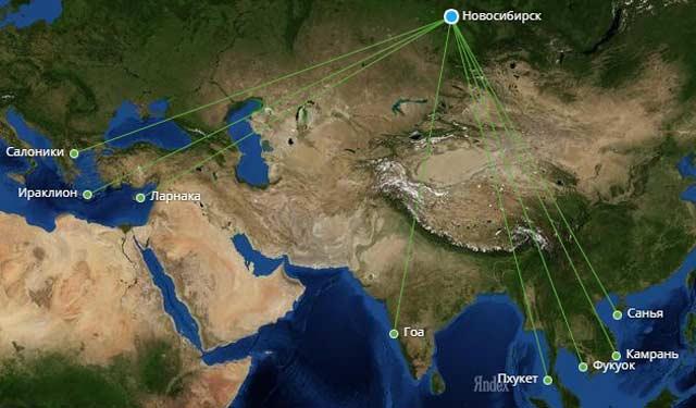 География чартерных рейсов