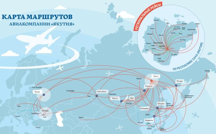 Карта маршрутов Якутия