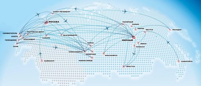 Карта полетов Алроса