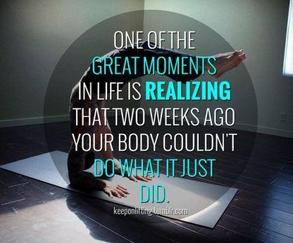 Two weeks ago your body couldn't do what it just did. #fitness #workout #health #motivation #inspiration #yoga {PilotingPaperAirplanes.com}