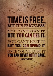 Time is free, but it's priceless. You can't own it, but you can use it. You can't keep it, but you spend it. Once you've lost it you can never get it back. Harvey Mackay {Piloting Paper Airplanes}