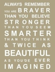 Always remember you are braver than you believe; stronger than you seem; smarter than you think & twice as beautiful as you'de ever imagined.