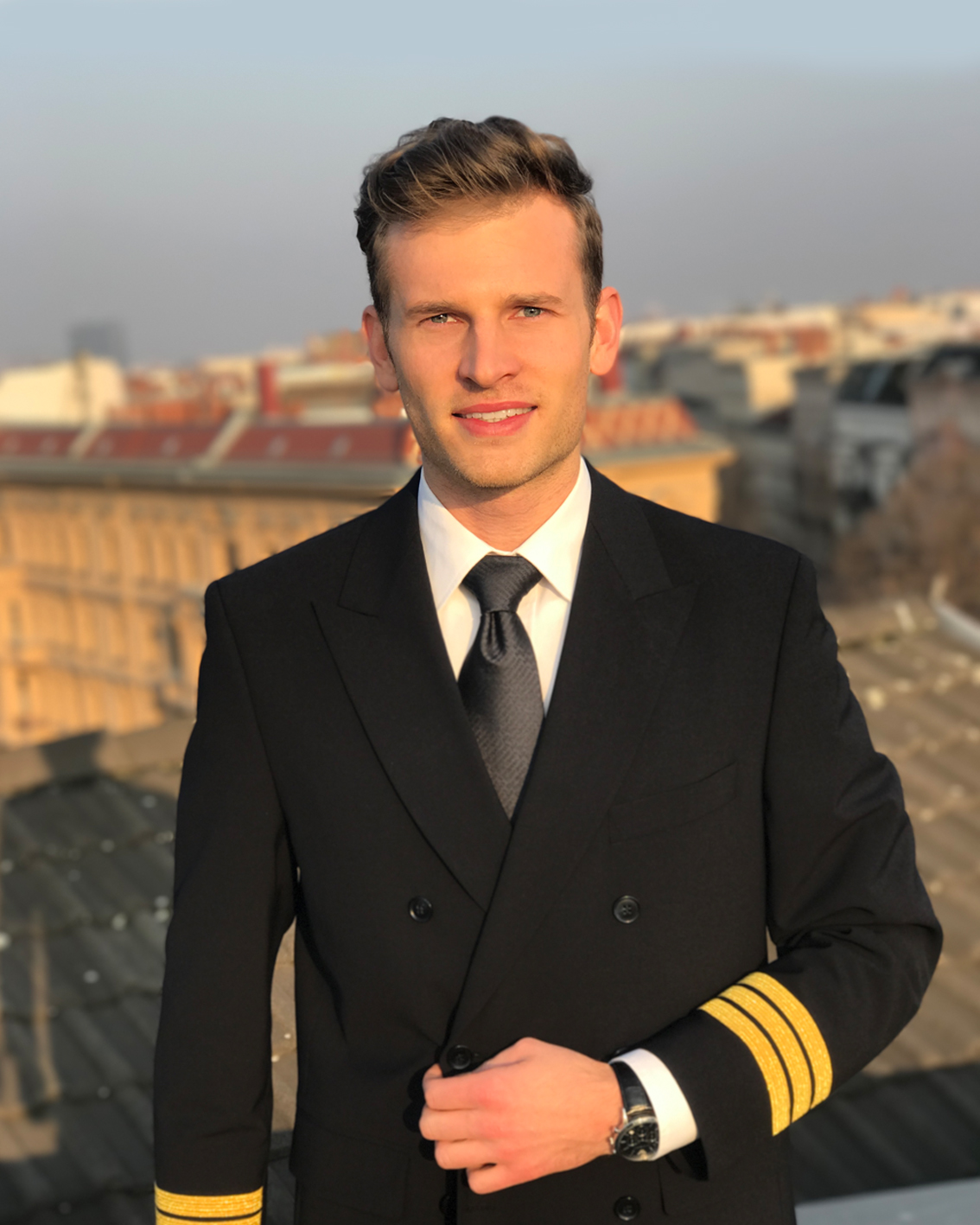 pilot patrick in new first officer uniform in berlin