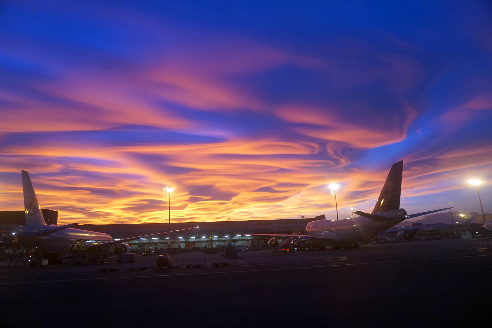 sunset milan airport