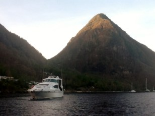 Pilot's Discretion moored between the Pitons, St. Lucia