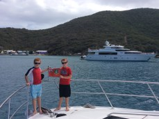 R&R hoisting the BVI courtesey flag