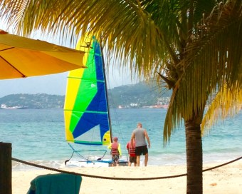 Ryan and Ronan getting ready to take Randy out sailing on the Hobie Cat, Grand Anse Beach, Grenada