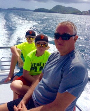 Ryan, Ronan & Randy heading out on the Dive St. Luicia Boat