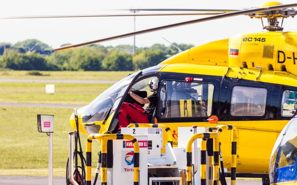 The helicopters of the German automobile club (ADAC) are based at Bonn Hangelar