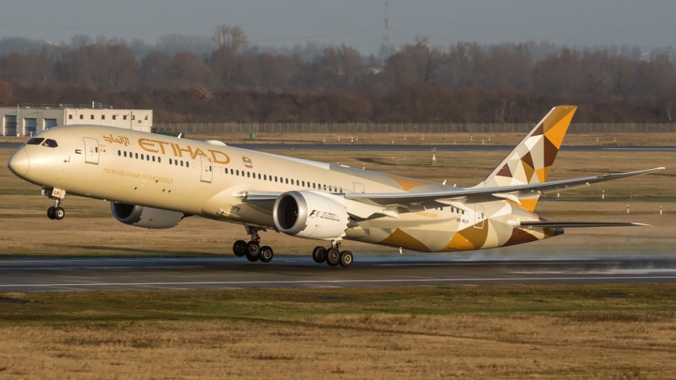 "An Etihad Boeing 787-9 and its ""raked-wingtips"""