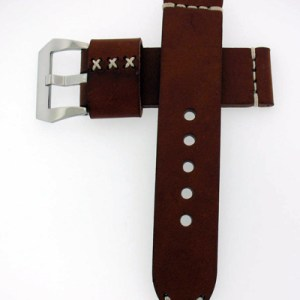 Handmade Brown Calf Leather Watch Strap For 44mm Panerai Watches