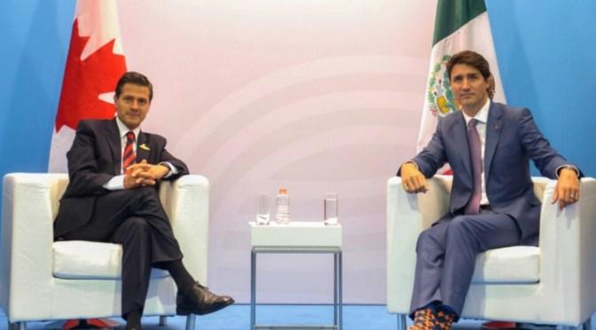 EPN y Trudeau confían en lograr buen acuerdo en renegociación del TLC.