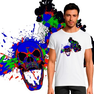 T-shirt Homme Skull Color
