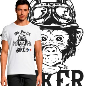 T-shirt Homme Biker Pilou Shop 64 by Old School moto motard