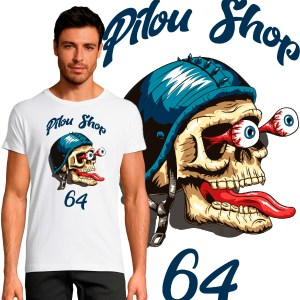 T-shirt Homme Crazy Skull 64 by Old School motard