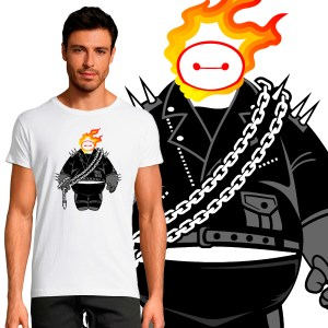 T-shirt Homme Pop Culture Baymax Ghost Rider