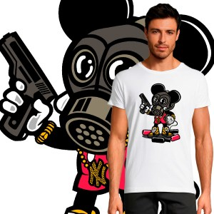 T-shirt Homme Pop Culture Gangsta Mickey gangster