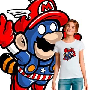 T-shirt femme pop culture crossover captain america mario