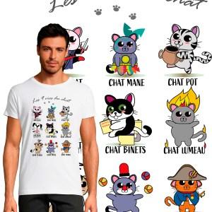 T-shirt homme Les 9 vies du chat
