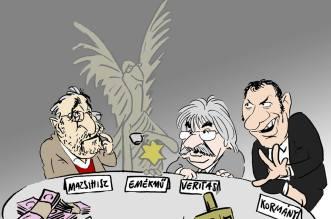 Szeptemberre Lázár János ismét összehívja a Zsidó Közösségi Kerekasztalt, Pápai Gábor karikatúrája a napirend-egyeztetésbe enged bepillantást.